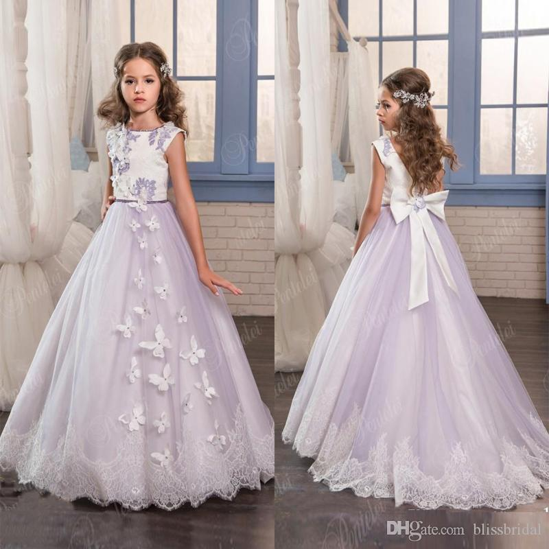 a667d14ad414ab Lanvend Flower Girl Dresses For Wedding Jewel Sleeveless 3D Butterfly  Applique Sash Ball Gown V Back Sweep Train Flower Girl Wedding Dresses Lace  Flower ...