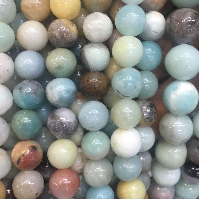 Ronda Mixta Amazonita color de los granos de los granos flojos de piedra naturales de los granos DIY para la joyería que hace filamento del grano 15