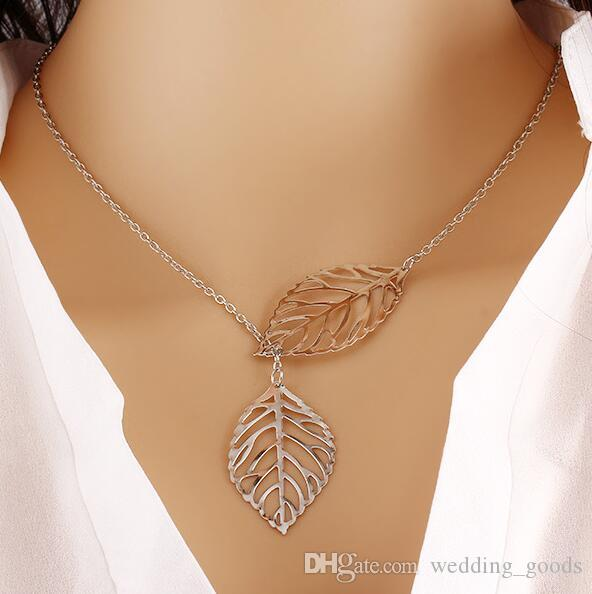 Brand new Explosive leaves necklace double leaves clavicle chain jewelry female jewelry WFN110 with chain a