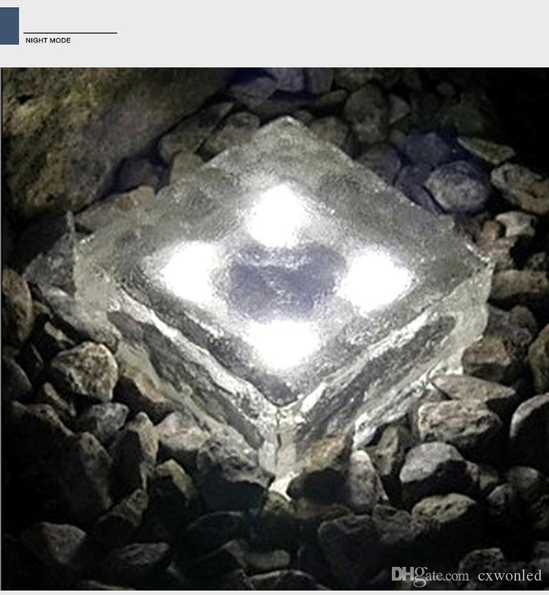 led bahçe güneş ışığı dondurma cam kare şekli beyaz, sıcak, mavi, yeşil renk yeraltı su geçirmez çim lamba