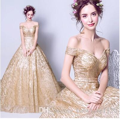 2017 Cheap A Line Sweetheart Sexy Gold Formal Evening Dress Lace Up