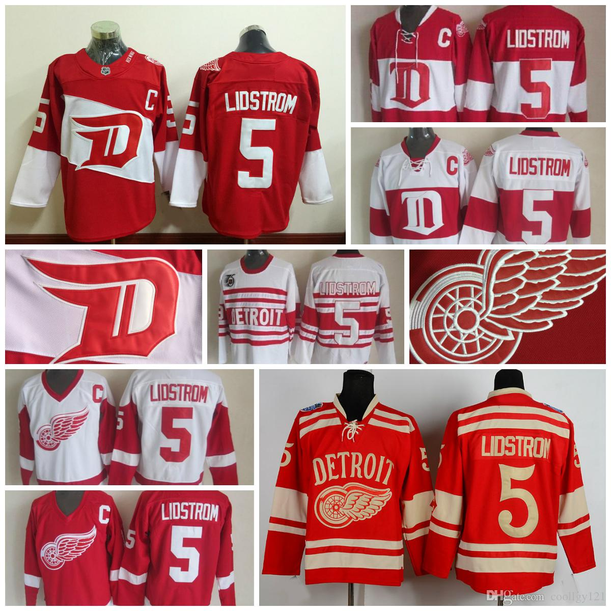 2018 Throwback Detroit Red Wings Jersey #5 Nicklas Lidstrom Jerseys Home Red  Vintage Winter Classic Red White Men Lidstrom Hockey Jerseys C Patch From  ...