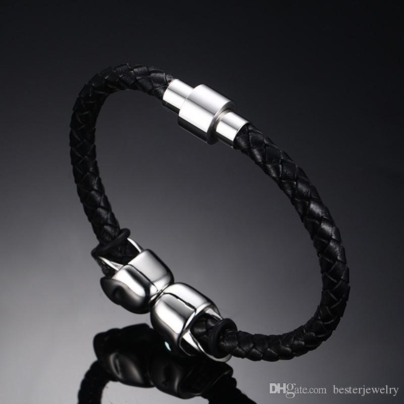 Bester Jewelry Hot Selling Fashion Mens Genuine Leather Braided Northskull Bracelets Double Skull Bangle BL-214