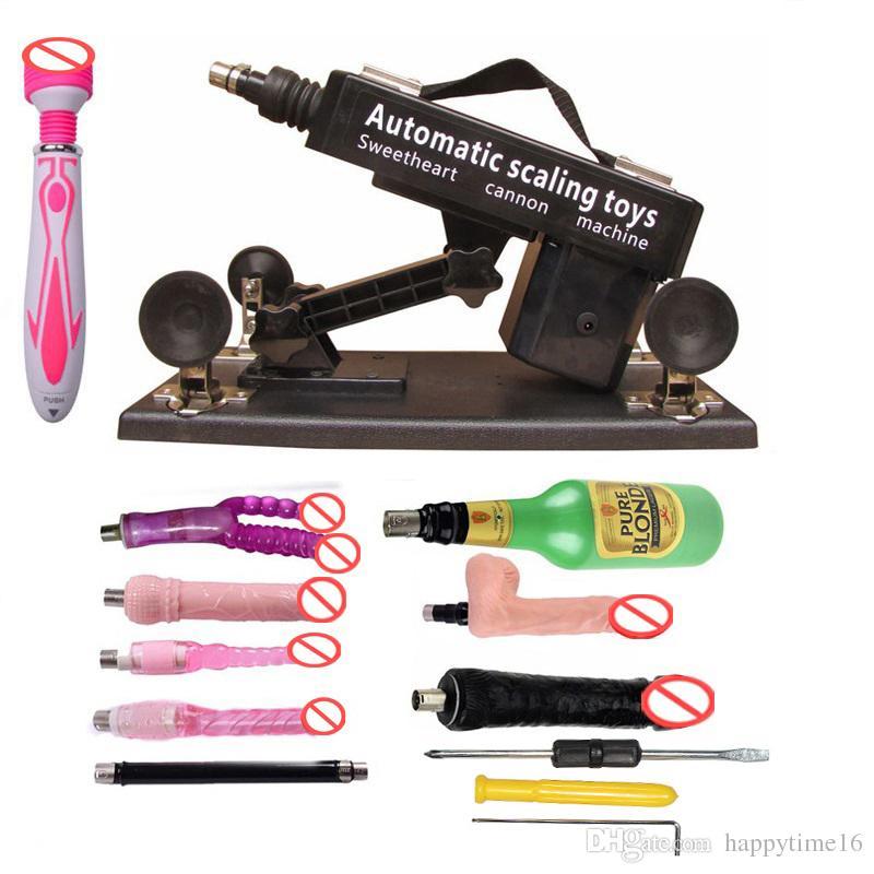 무료 배송 남성과 여성을위한 럭셔리 자동 성별 기계 총 세트, 남성 자위 컵과 Big Dildo Toys가있는 LOVE 머신
