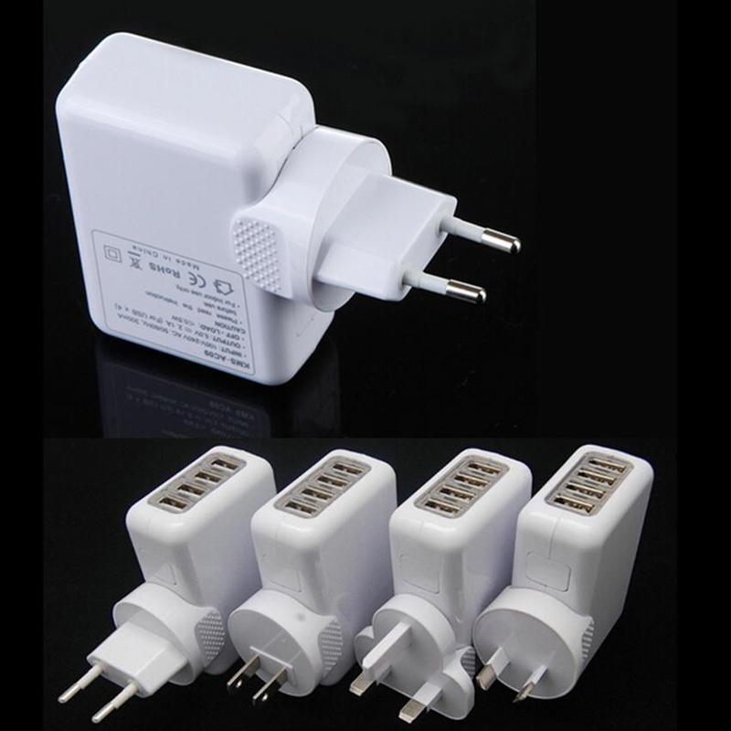 UE AU EE. UU. Reino Unido Enchufe 4 Puerto USB Cargador de Pared 2.1A 10W Adaptador de corriente de Cargador de Viaje Portátil para Iphone Ipad Samsung HTC