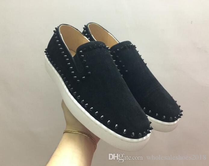 Bırak gemi ile 2017 mavi süet Erkekler Marka Tasarımcısı sivri kırmızı alt Ayakkabı düşük Üst Patent Hakiki Deri Rahat Düz kırmızı alt erkekler sneakers