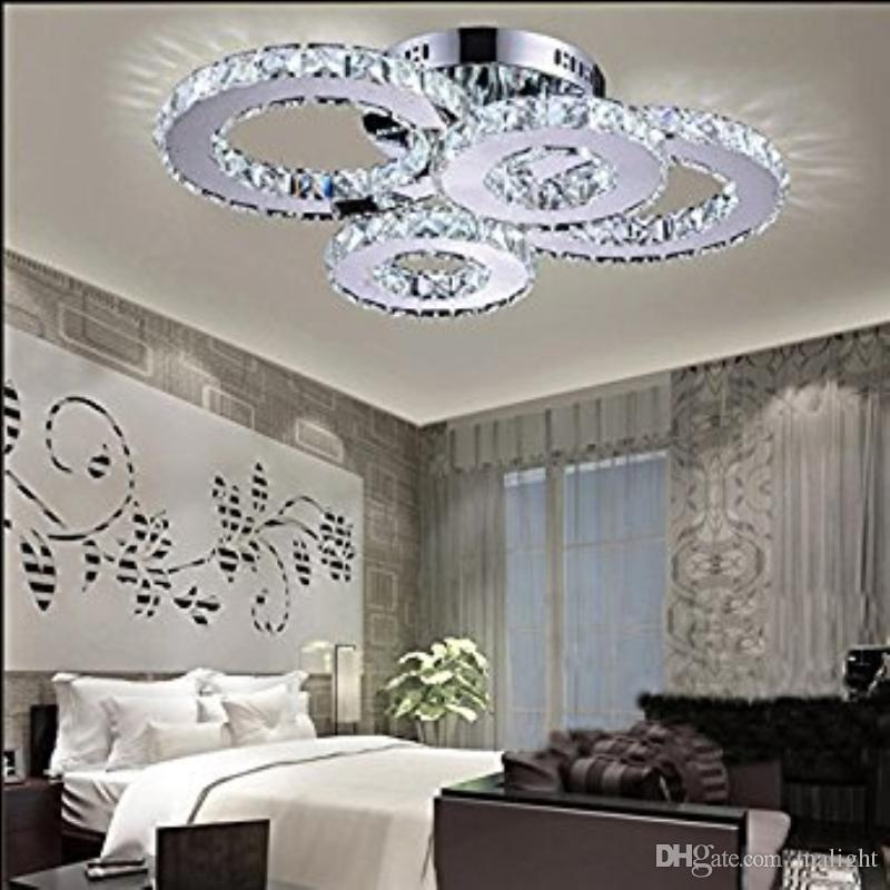 LED Kristall Lampe Atmosphäre Wohnzimmer Lampe Kreative Decke Schlafzimmer  Lampe Deluxe Round Hall Room Unterputz (Weiß)
