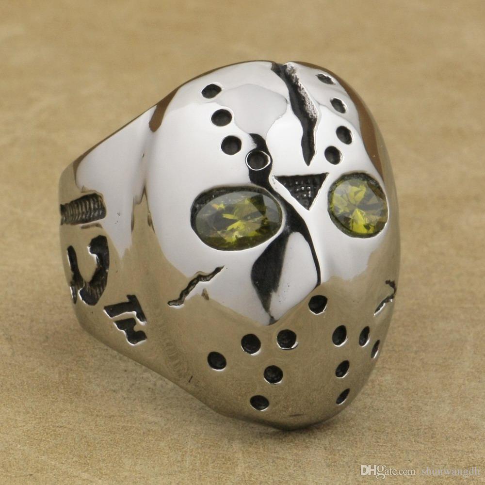 LINSION 316L Stainless Steel Halloween Jason Mask Hockey Olive Green CZ Eyes Mens Biker Rocker Punk Ring CZ Ring 3F601