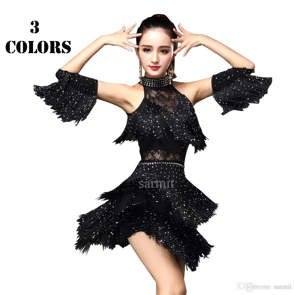 706432a0fef69 2019 2017 New Women Latin Dance Dress Rhinestones Sequin Tassels Samba  Dance Costumes Tango Salsa Dress Samba Costume CADL041 From Sarmit, $55.28  | DHgate.
