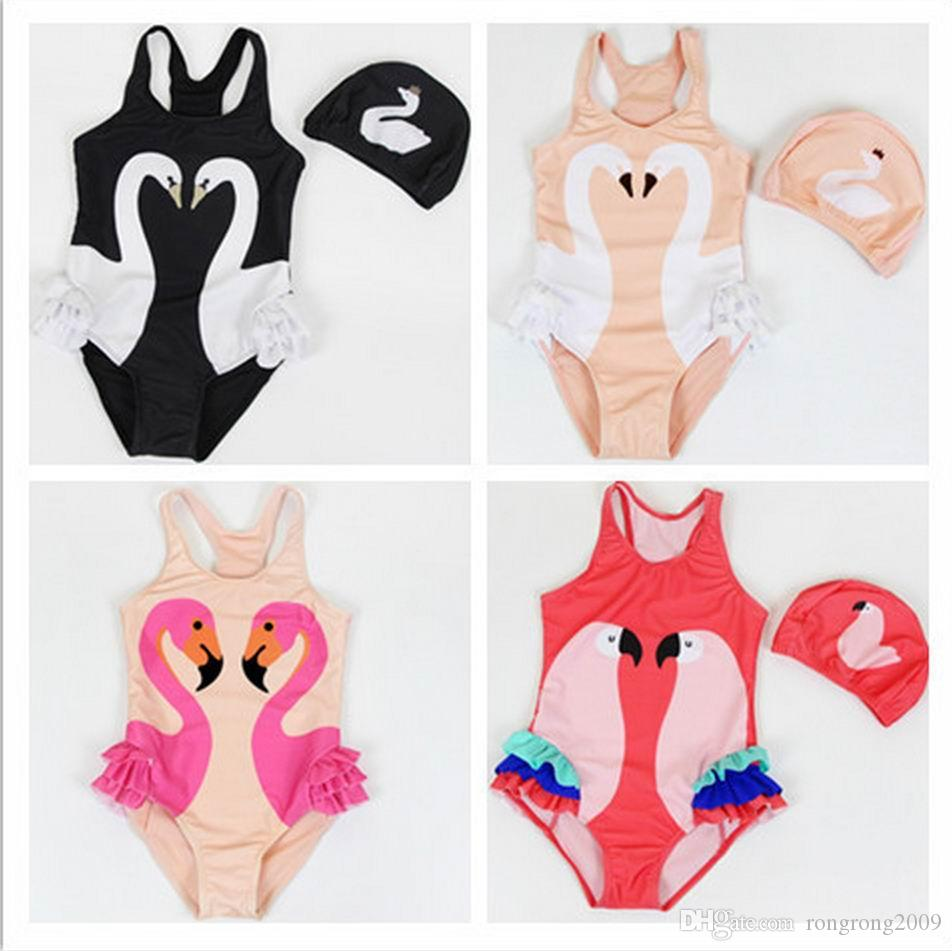 Swimwear 2017 Summer New Girl Swimwear With Hat Swan Parrot Flamingo Cartoon One Piece Children Swimming Suit 0-9t 10011