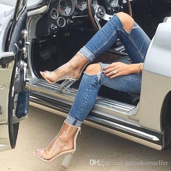 Zapatos Mujer Stivaletti trasparenti in oro bianco Peep Toe in plastica da donna Botas Perspex Lucite 11cm Scarpe con tacco alto trasparenti Estate