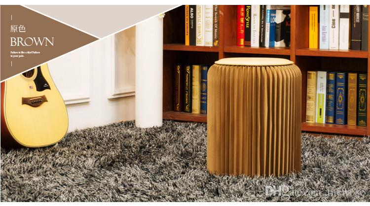 """H42x34 Novel Innovation Funiture Pop Smart Paper Stools Indoor Waterproof and Damp-Proof Accordion Style Kraft Paper Height 16.5"""" 71-1001"""