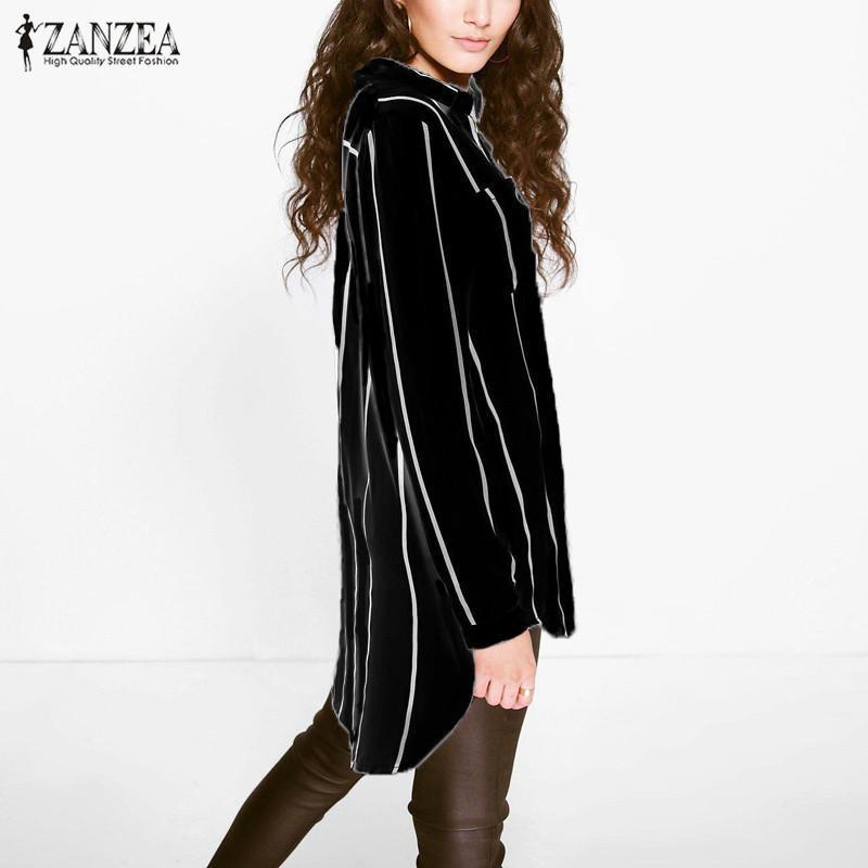 ZANZEA Frauen 2017 Herbst Sexy Beiläufige Lose Lange Bluse Shirts Revers Langarm Tasten Taschen Nadelstreifen Asymmetrische Blusas Tops