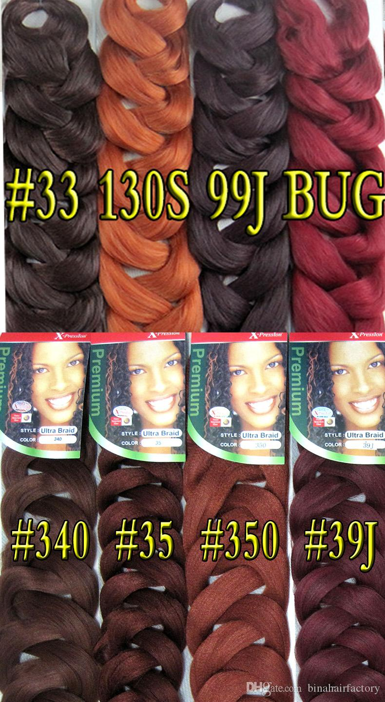 Xpression intrecciare i capelli estensione kanekalon capelli sintetici treccia 165g jumbo box trecce senegalesi crochet trecce i disponibili