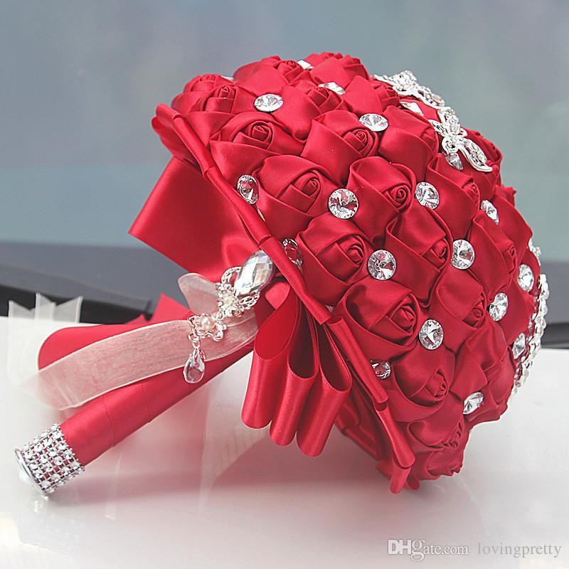 New Style Burgundy Satin Rose Wedding Bouquets With Crystal Diamond Artificial Bridal Bouquet De Mariage Ramos De Novia Custom Made 2018