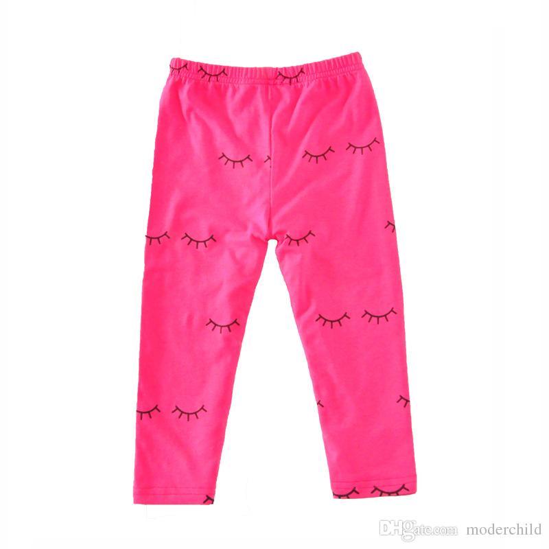 Girl summer clothes sets 2017 european style children lipstick print T shirt+eyelash print leggings outfits kids cotton clothes suits