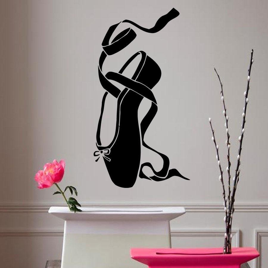 Wall stickers home decor vinyl decal ballet dancing shoes wall stickers home decor vinyl decal ballet dancing shoes bowsclassic theater girl room ballet shoe dance sport pointe big stickers for wall big stickers amipublicfo Images