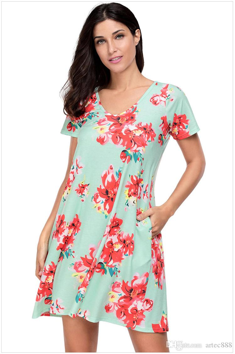 New Fashion Summer Casual Dresses V-Neck Short Sleeve Two Pockets ...