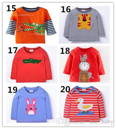 20 Diseños Nueva llegada Niños camiseta Adorable Camisa Sping Otoño Ropa Números Animales Bordado de dibujos animados Camisas Shiirts multicolor Q0674