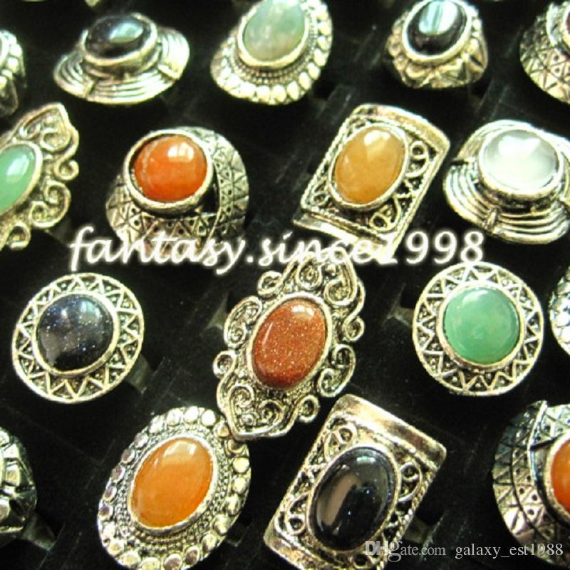 gros de styles mélangés assortis / boîte femmes bijoux en pierre vintage anneaux nouvelles couleurs de mélange