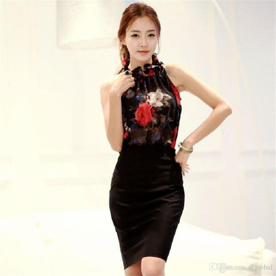 Fashion Summer Clothing Floral Chiffon Halter Sexy Strapless Women Tops Loose Sleeveless Shirt Wild Casual Womens