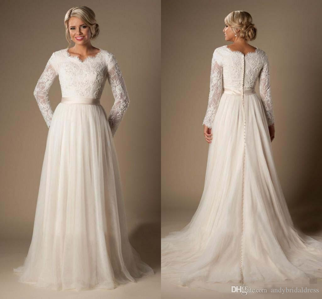 Discount 2016 Modest A Line Lace Tulle Temple Wedding Dresses Long Sleeves V Neck Sheer Trains Buttons Back Bridal Gown Plus Size Arabic Vintage: Bling Wedding Dresses Lds Modest At Reisefeber.org