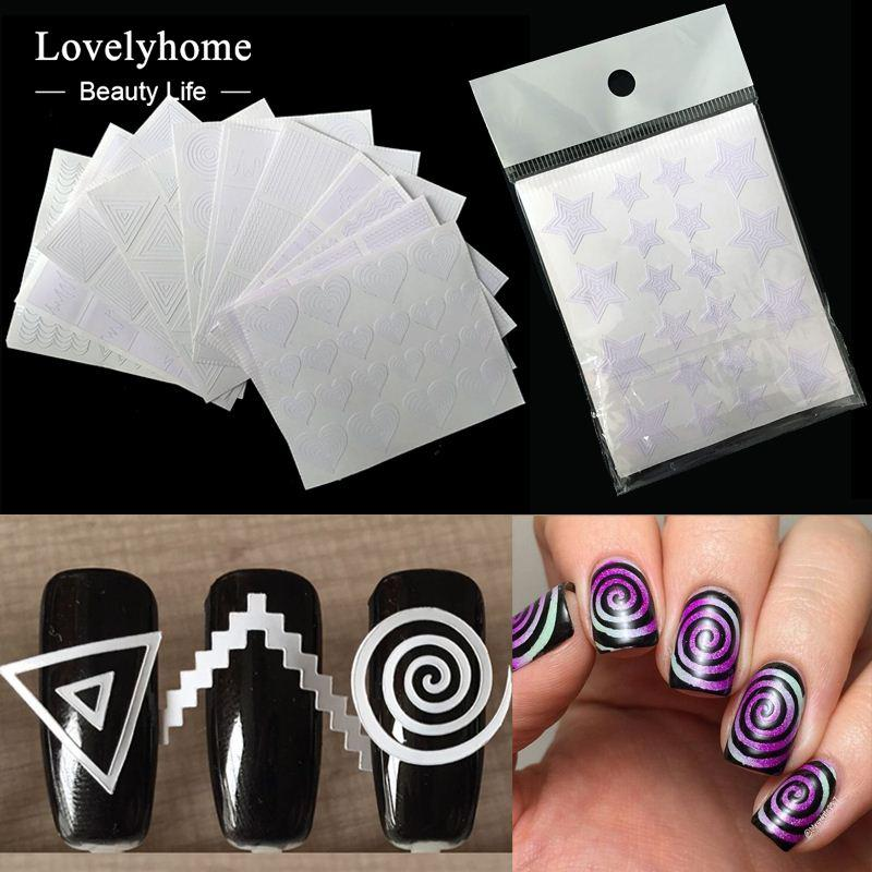 Nails Sticker Stencil Tips Guide French Swirls Manicure Nail Art ...