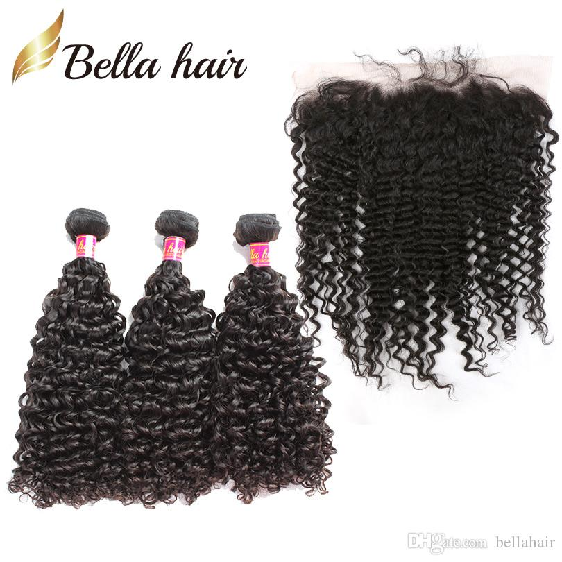 Pelo humano trama con encaje frontal rizado Brasileño Virgen Human Hair Bundles Tejidos Frontal Malasia Peruano Indio Indio Bellahair