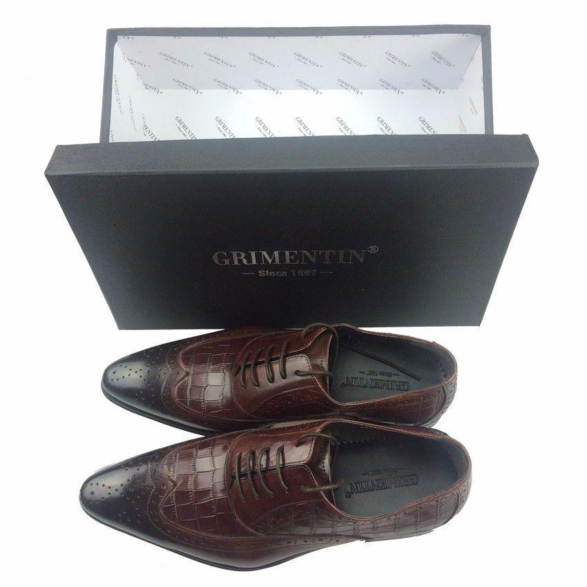GRIMENTIN 100% Genuine leather oxfords mens wedding shoes crocodile style black brown Italian dress men formal shoes large size man shoes