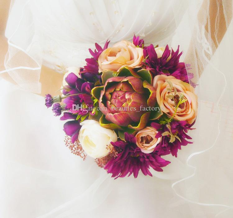 European Retro Palace Bride Holding Bouquet Artificial Cascading Silk Wedding Flowers Pink Purple Flower 20cm New
