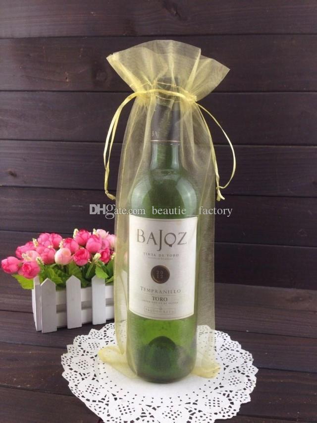 Silver Organza Bottle Väska Organza Påse Bröllop Favor Gift Wrap 14x35cm Vinflaska Väskor eller Mix Colors