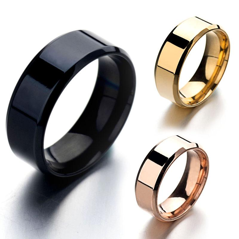 Smooth Stainless Steel Black Gold Silver Rose Gold Men Women S