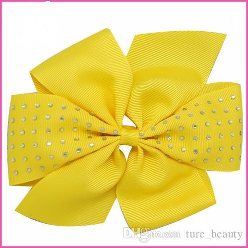 30 قطع 6 بوصة pinwheel الشعر القوس grosgrain بوتيك حجر الراين bowknot مع مقاطع الشعر للأطفال اكسسوارات للشعر
