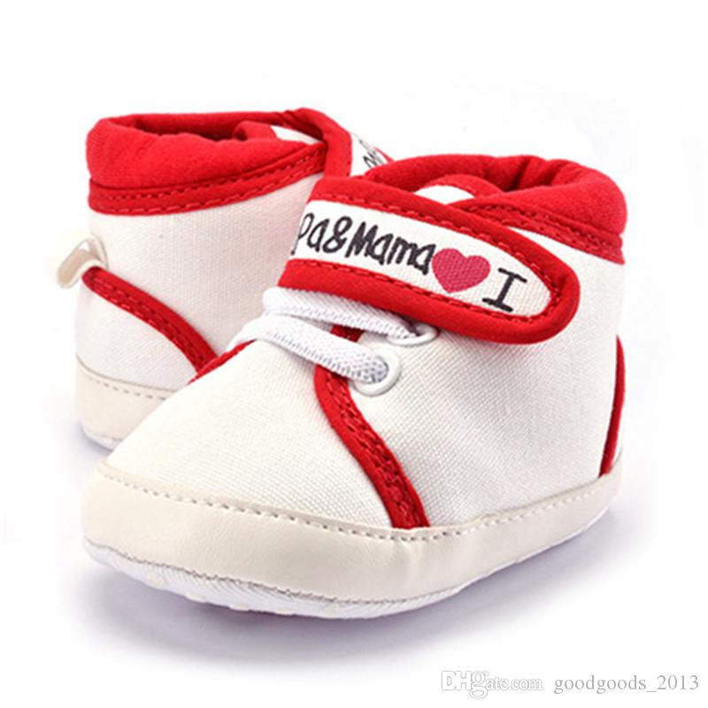2017 I love Papa&Mama Boys Girls baby Canvas shoes soft bottom Non-slip Sneakers toddler shoes baby first walker shoes sports footwear k490