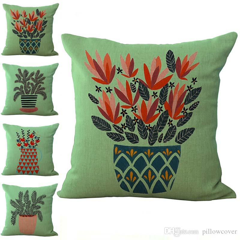 Pot Culture Green Plants Pattern Pillow Case Cushion cover Linen Cotton Throw Pillowcases sofa Bed Car Decorative Pillowcover drop ship