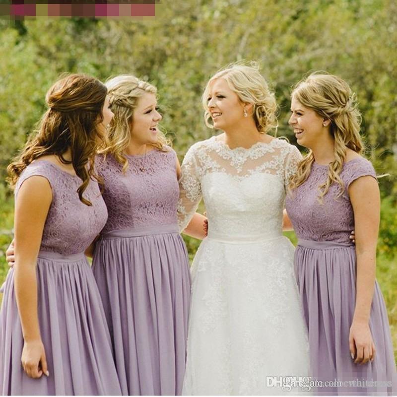Modest Lavendel Licht Lila Chiffon Brautjungfer Kleid Lange Plus Größe Spitze Land Hochzeit Gast Party Kleid Frauen Günstige Prom Kleider 2017