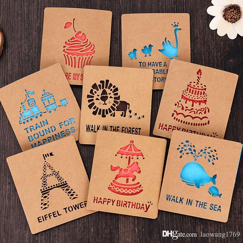 1 X Creative Hollow Out Kraft Paper Small Card With Envelope ...