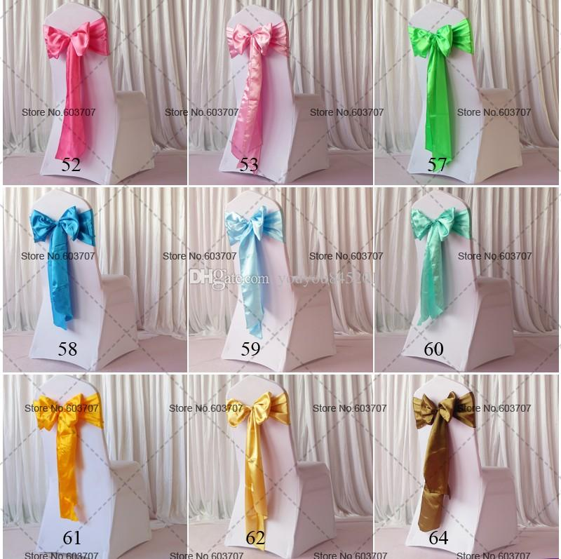 Wholesale More Than Spandex Chair Sashes Yellow/Red/Blue/Green/Violet/Pink Satin Chair Sash For Wedding