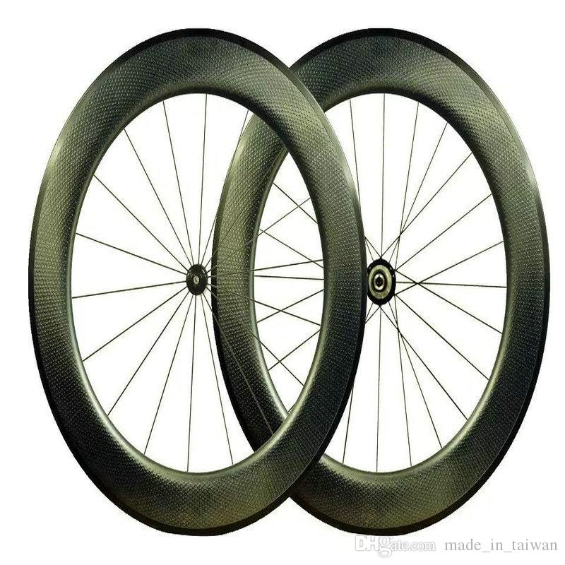 2018 New Style Road Bike Carbon Wheels 80mm Dimples Surface Taiwan