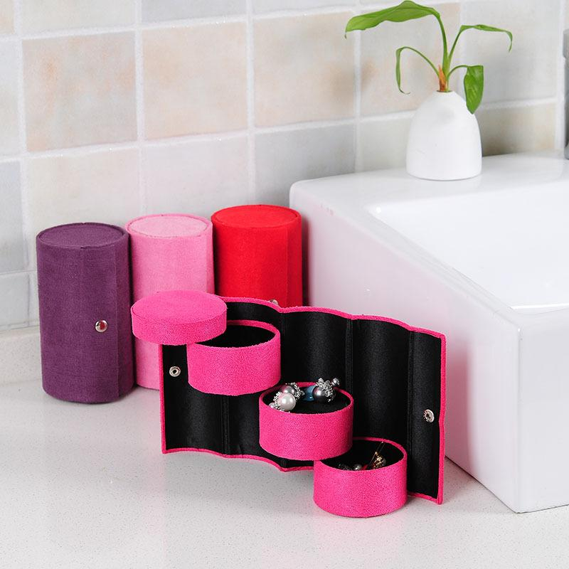 3 Layers Jewelry Box Accessories Cylinder Cases Necklace Earring Jewelry Holder Organizer Boxes