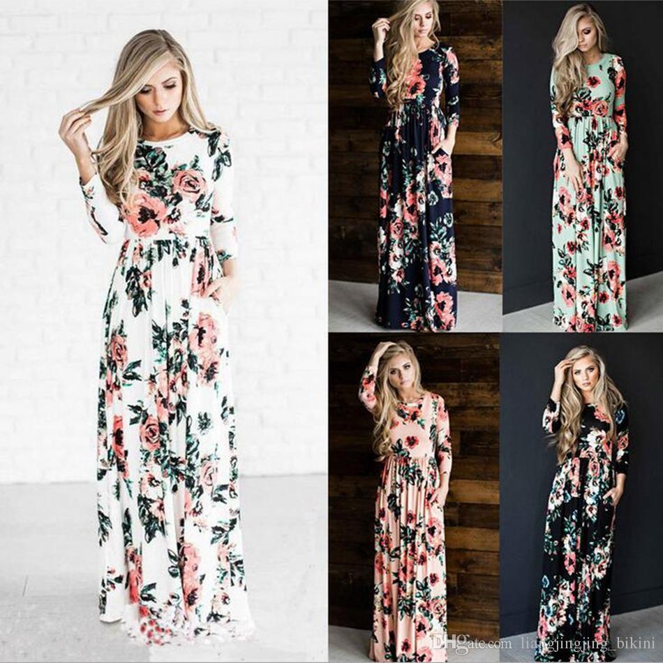 edc40e2521 Women Floral Print Long Sleeve Boho Dress Evening Gown Party Long Maxi  Dress Summer Sundress OOA3239 Long And Short Dress Sundress Online From ...