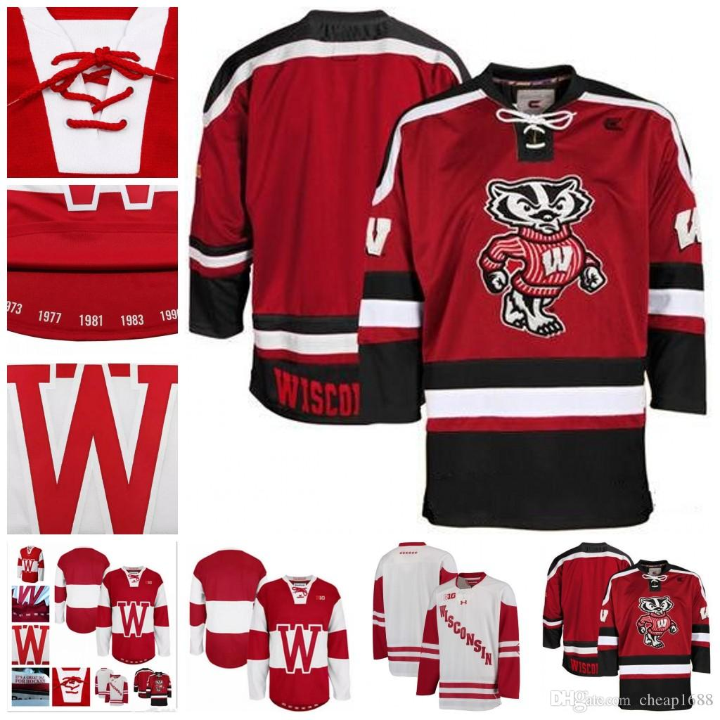 2019 Customize Mens NCAA Wisconsin Badgers College Hockey Jerseys Adults  White Red Stithed Wisconsin Badgers Jersey S 3XL From Cheap1688 92bb0263506