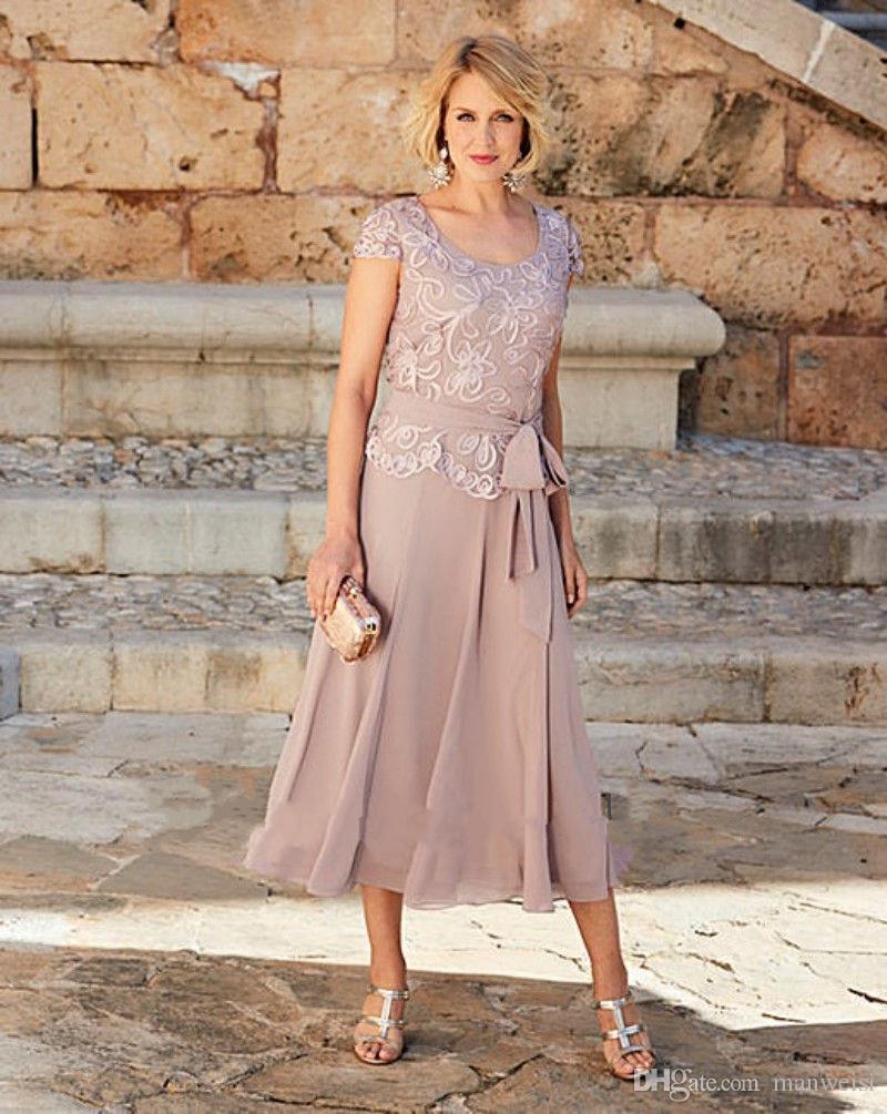 2017 eine Linie Mutter der Braut Kleider Tee Länge Scoop Neck Lace Party Kleid für Mütter Bräutigam Formelle Kleidung