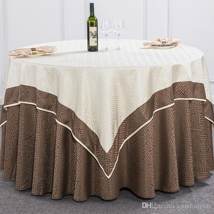 Luxurious Polyester Geometric Patterncloth Circular Tablecloth Hotel Party  Wedding Tablecloth Machine Washable Fabric Cloth Table Black And White ...