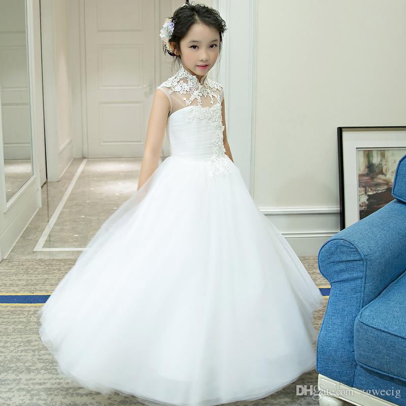 High Neck Cute Flower Girl Dresses for Wedding 2016 Vintage Lace ...