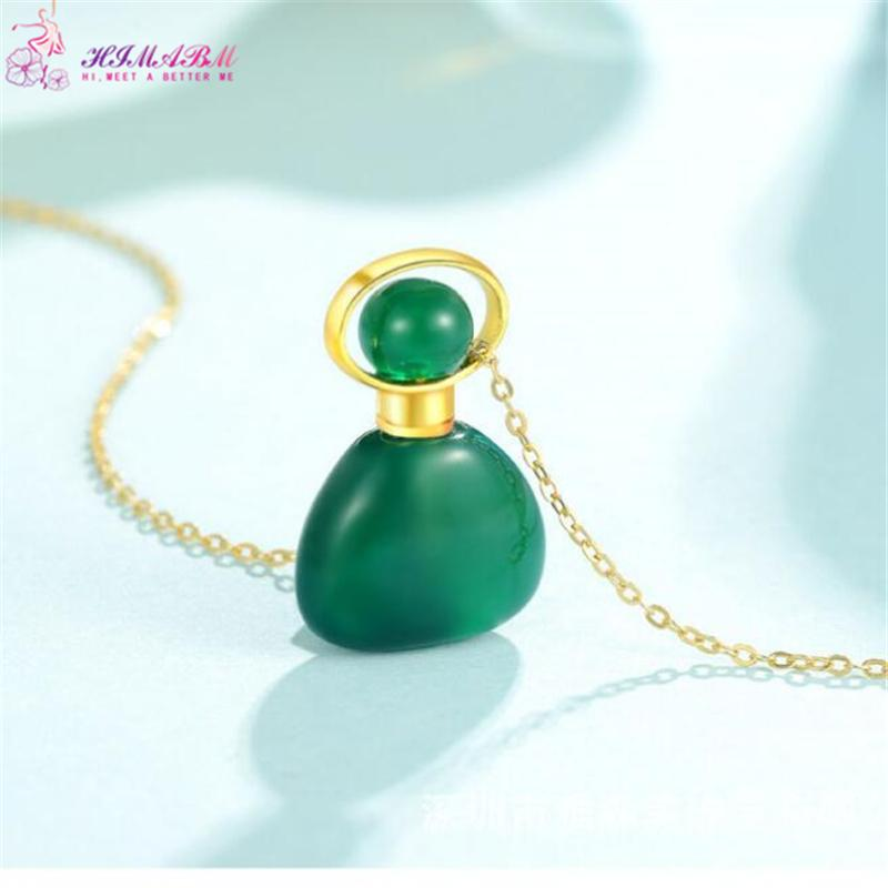 HIMABM Natural Green Agate Different Shape Perfume Bottle Scent-bottle Essential Oil Bottle Can volumetric flask Birthday