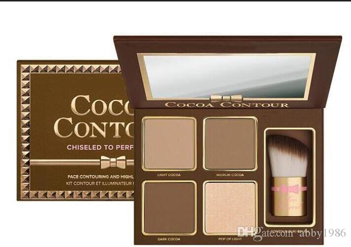 Brand COCOA Contour Kit Highlighters Palette Nude Color Cosmetics Face Concealer Makeup Chocolate Eyeshadow with Contour Buki Brush