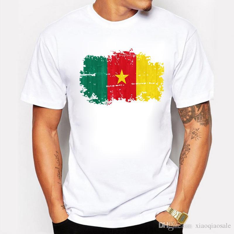 Mais recente T-shirt para Homens Camarões Bandeira Nacional Estilo Nostálgico Imprime Tshirts Homens Hipster T Shirt Hip Hop Algodão Tops