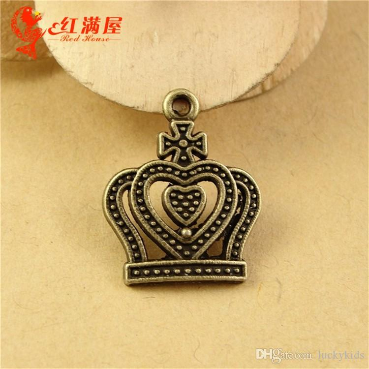 21*17MM Antique Bronze Retro love crown charm pendant beads mobile phone accessories jewelry, Korea new necklace charms in bulk