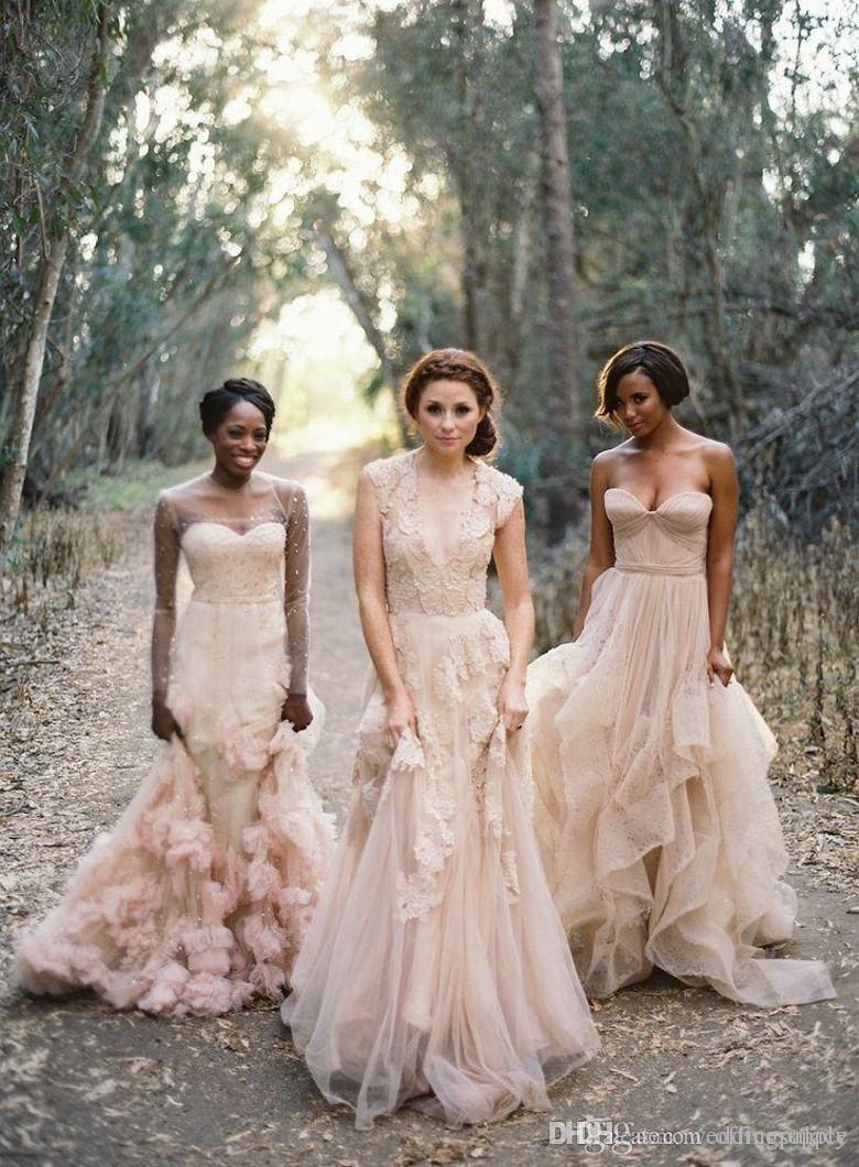 Vintage 2020 Bohemian Blush Lace Vestidos de novia transparentes Volantes Vestidos de novia Manga casquillo Cuello en V profundo Capas A-Line Vestidos de novia modestos